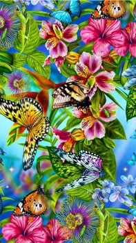 Flowers and butterfly - abstract Hd Wallpaper